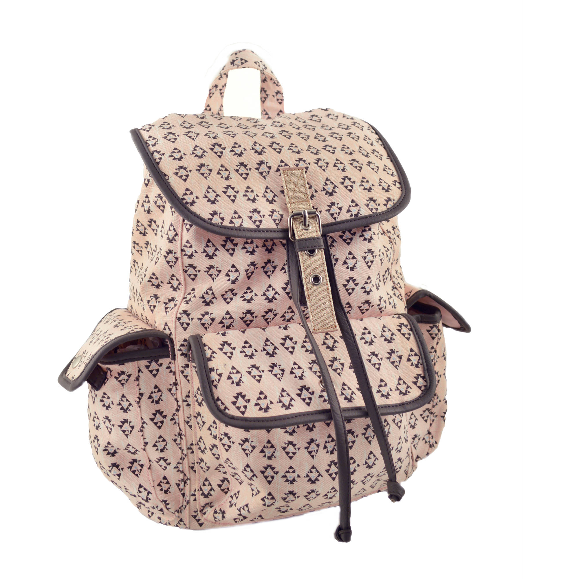 "No Boundaries 18"" Printed Canvas 2 Pocket Flap Backpack"