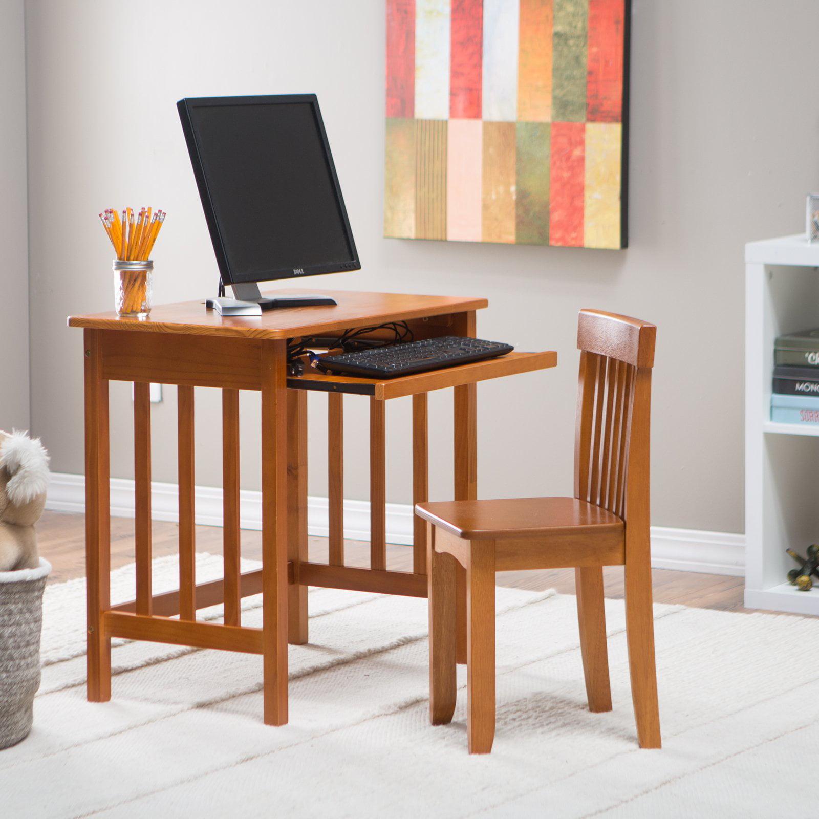 Lipper Computer Desk & Chair Pecan by Lipper International
