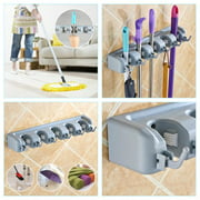 Jeobest Strongest Grippers Mop Broom Holders with 5 Ball Slots and 6 Hooks Wall Mounted Hanger for Home,Closet,Garage and Shed