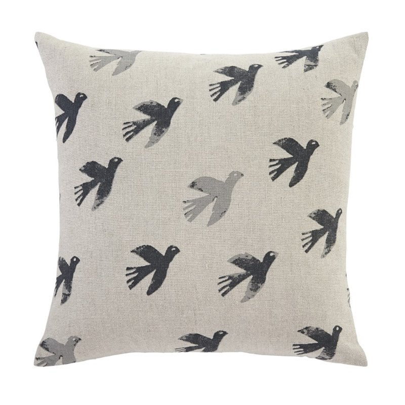 Ashley Draven Throw Pillow Cover in Gray and Natural