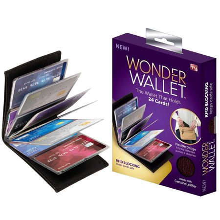 - Wonder Wallet - Amazing Slim Genuine Leather Wallet w/RFID Protection, As Seen On TV