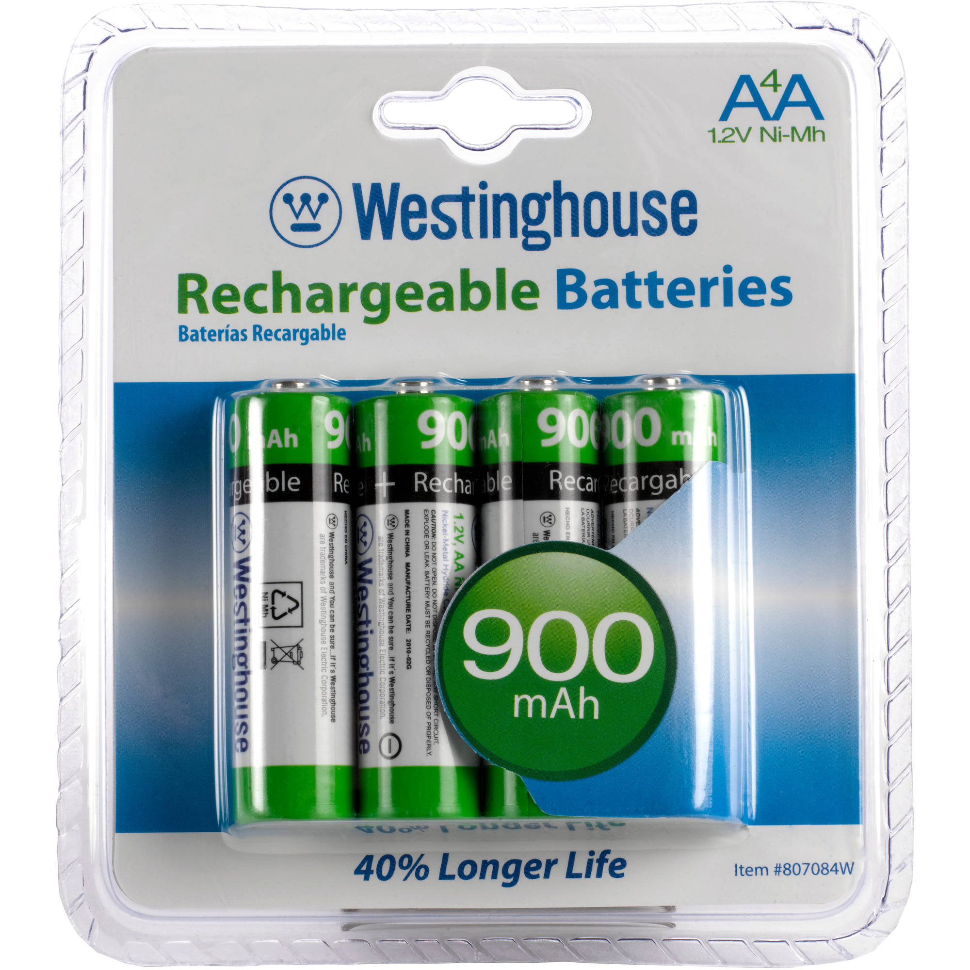 Westinghouse 4pc NiMh 900mAh AA Re-Chargeable Battery Set