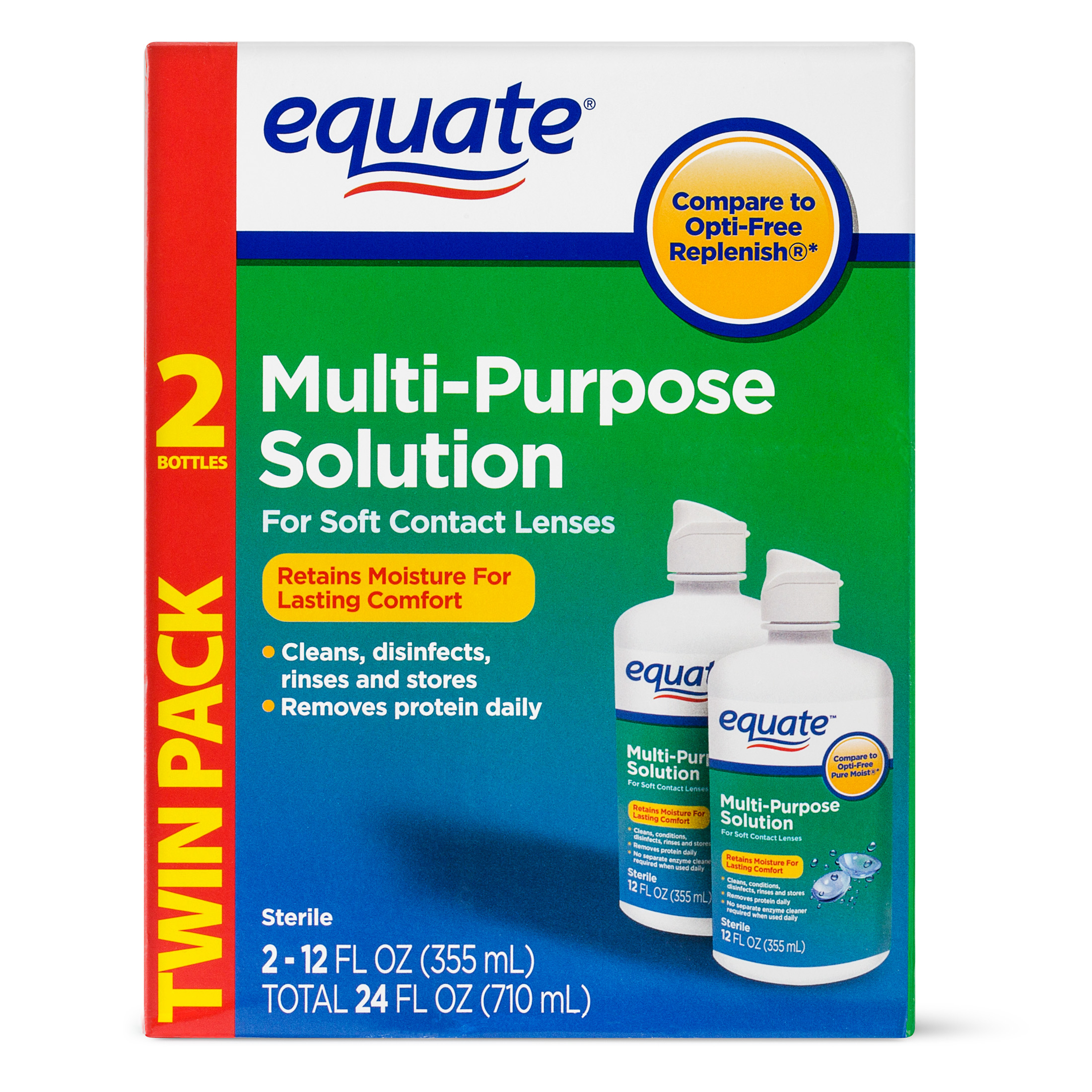 Equate Sterile Multi-Purpose Contact Solution , 12 Oz, 2 Pk