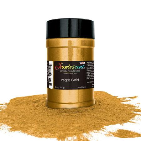 U.S. Art Supply Jewelescent Vegas Gold Mica Pearl Powder Pigment, 2 oz (57g) Bottle - Non-Toxic Metallic Color Dye