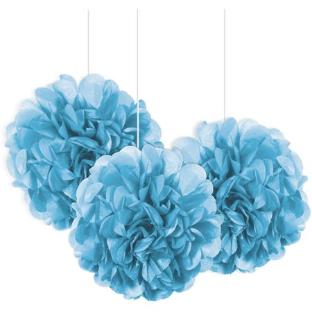 Tissue Paper Pom Poms, 9 in, Light Blue, 3ct