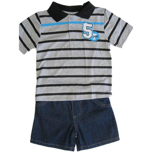 Carters Little Boys Grey Black Stripe Patch T-Shirt Denim 2 Pc Pant Set 12M-24M