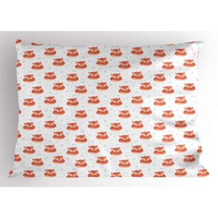 Fox Pillow Sham Cute Sleeping Animals Pattern on Heats and Leaves Background Vintage Inspirations, Decorative Standard Size Printed Pillowcase, 26 X 20 Inches, Coral Beige, by - Cute Inspiration