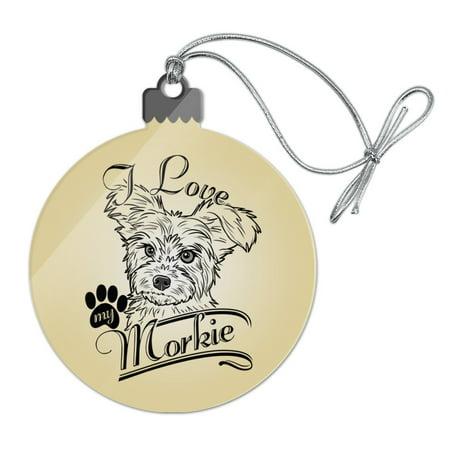 I Love My Morkie Morkshire Terrier Acrylic Christmas Tree Holiday Ornament (Love Tree)