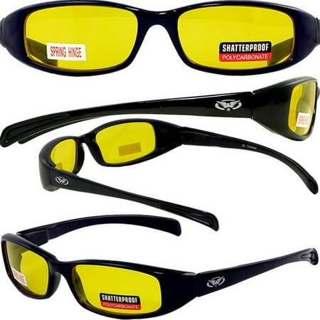 NEW ATTITUDES - Stylish Sunglasses - Yellow Lenses, GLOSS Black (Attitude Sunglasses)