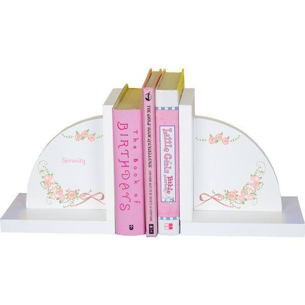 Personalized Blush Floral Garland Childrens Bookends