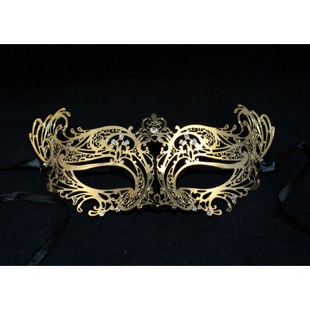 Stunning Laser Cut Masquerade Mask Gold Metal Mask with Clear Diamonds - Masquerade Masks White