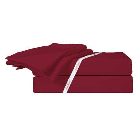Just Linen 300 Thread Count 100% Cotton Sateen, Solid Rio Red, King Bedding Sheet Set with Deep Pocketed Fitted Sheets