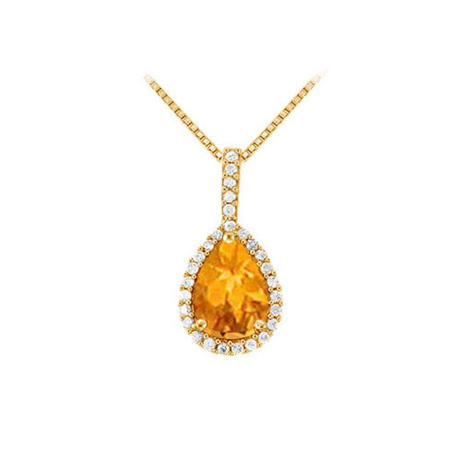Fine Jewelry Vault UBNPD31479Y14PR75CZCT Fancy Teardrop Citrine and Cubic Zirconia Halo Pendant in 14K Yellow Gold 1.50... by Fine Jewelry Vault