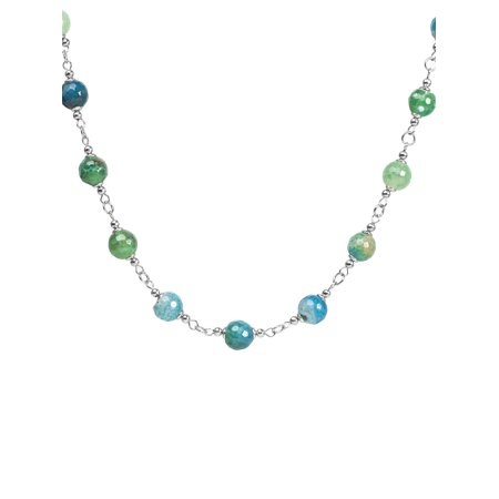Natural Mixed Green and Blue Agate Strand Necklace