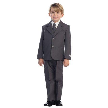 (Boys Charcoal Single Breasted Jacket Vest Shirt Tie Pants 5 Pc Suit)