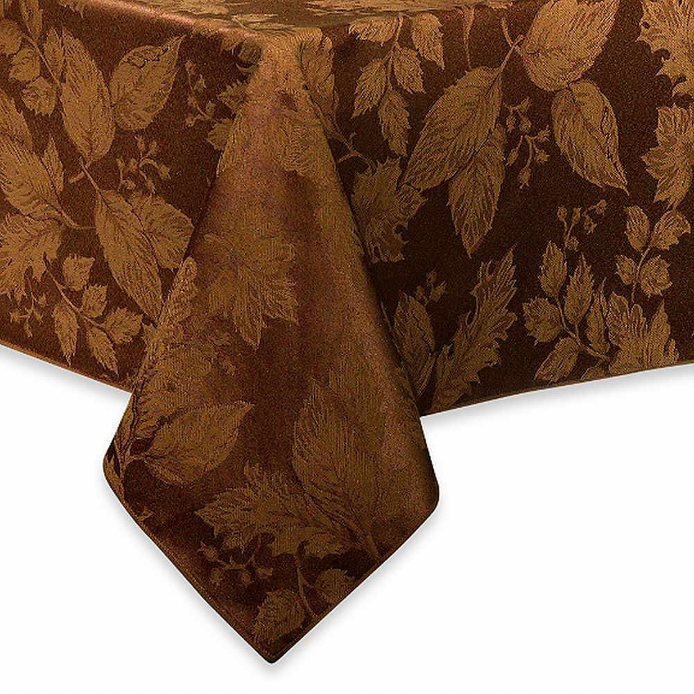 BB&B Autumn Harvest Chocolate Brown Damask Fabric Tablecloth Table Cloth 90 Rnd
