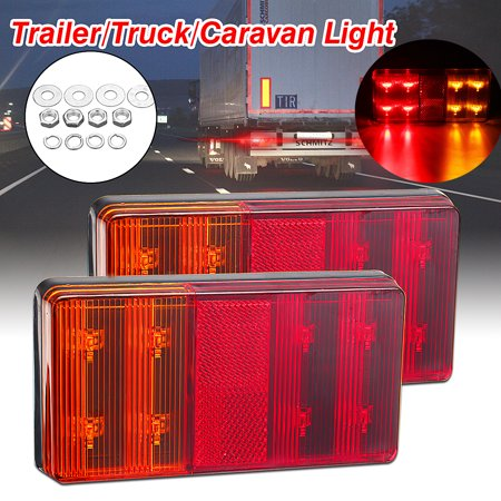 2PCS LED Universal Truck Turn Tail Rear Light Trailer Boat RV Brake Signal Lamp - image 8 de 8