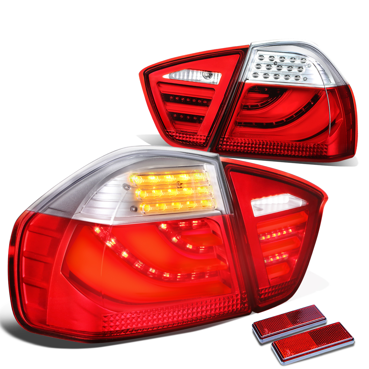 For 05-08 BMW E90/E91 3-Series 4-Door Pair of Clear & Red Lens LED Bar Brake+Signal Tail Light 06 07