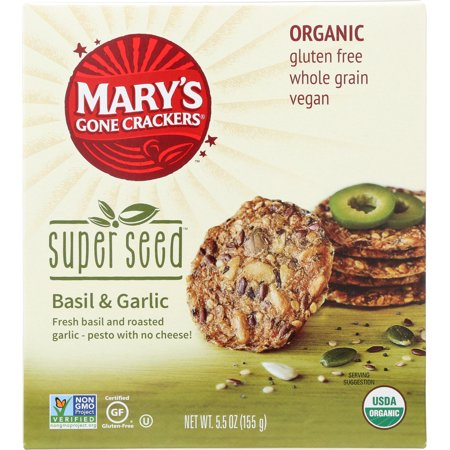 Mary's Gone Crackers Super Seed - Basil$ Garlic - Case Of 6 - 5.5