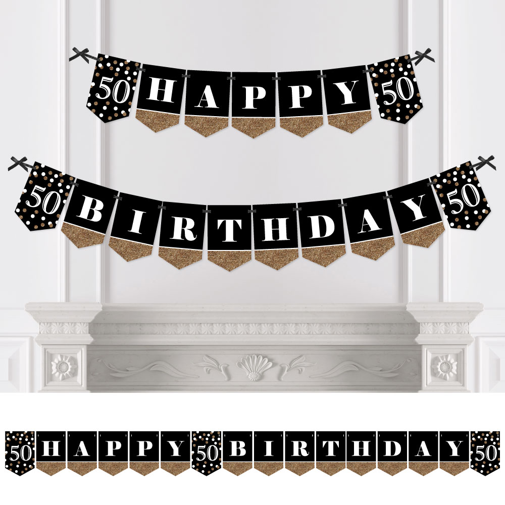 Adult 50th Birthday - Gold - Birthday Party Bunting Banner - Gold Party Decorations - Happy Birthday