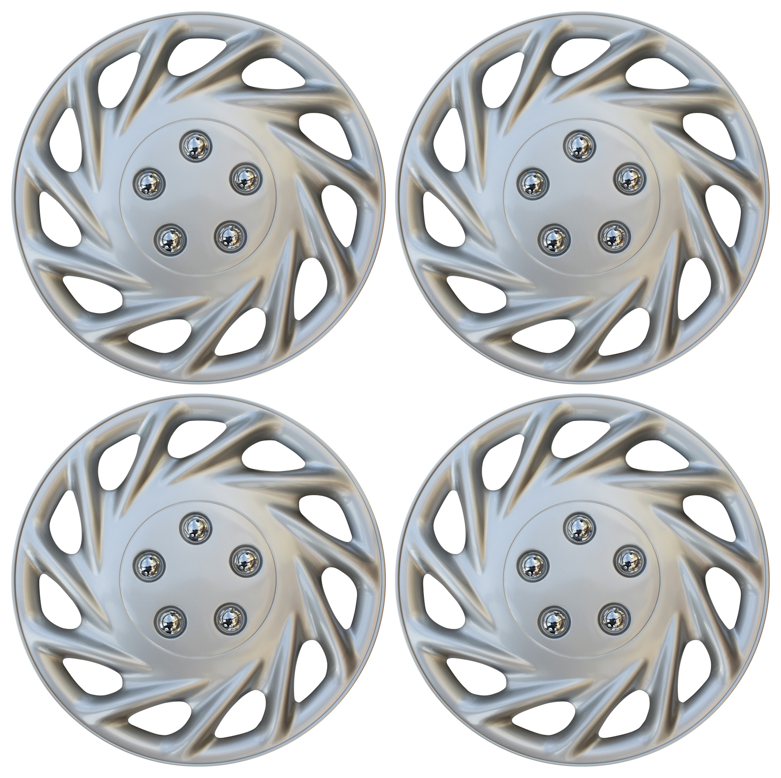 "Hub Cap ABS Silver 15"" Inch Rim Wheel Skin Cover Center 4 pc Set Caps Covers"