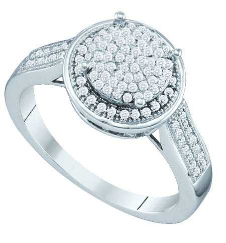 10K White Gold 0.33CT White Round Cut Diamond Round Fashion Micro Pave Ring
