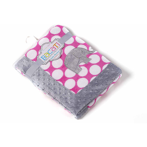 Bacati - Elephants Fuschia Dots with Gray Border 30 x 40 inches Plush Embroidered Blanket, Pink/Gray