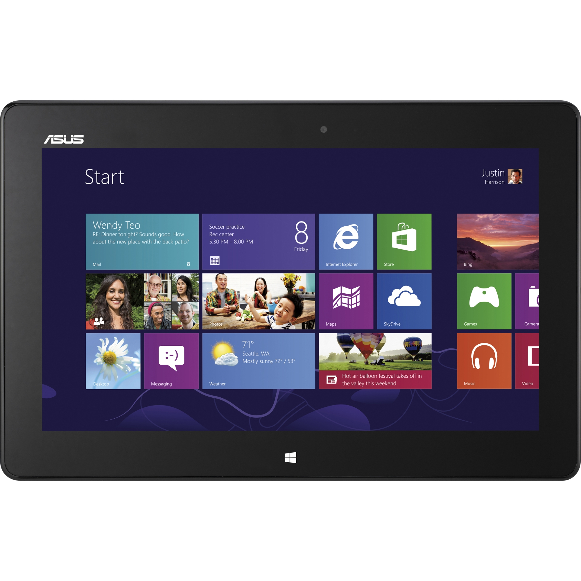 """Asus VivoTab Smart with WiFi 10.1"""" Touchscreen Tablet PC Featuring Windows 8 Operating System, Black"""