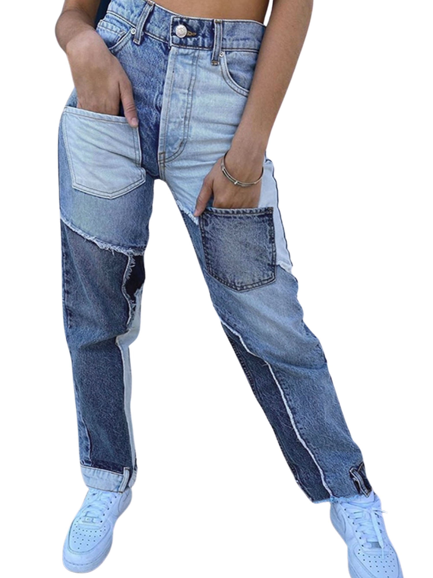 D Womens Casual Denim Pants High Waisted Wide Leg Jeans Butterfly Loose Baggy Trousers N