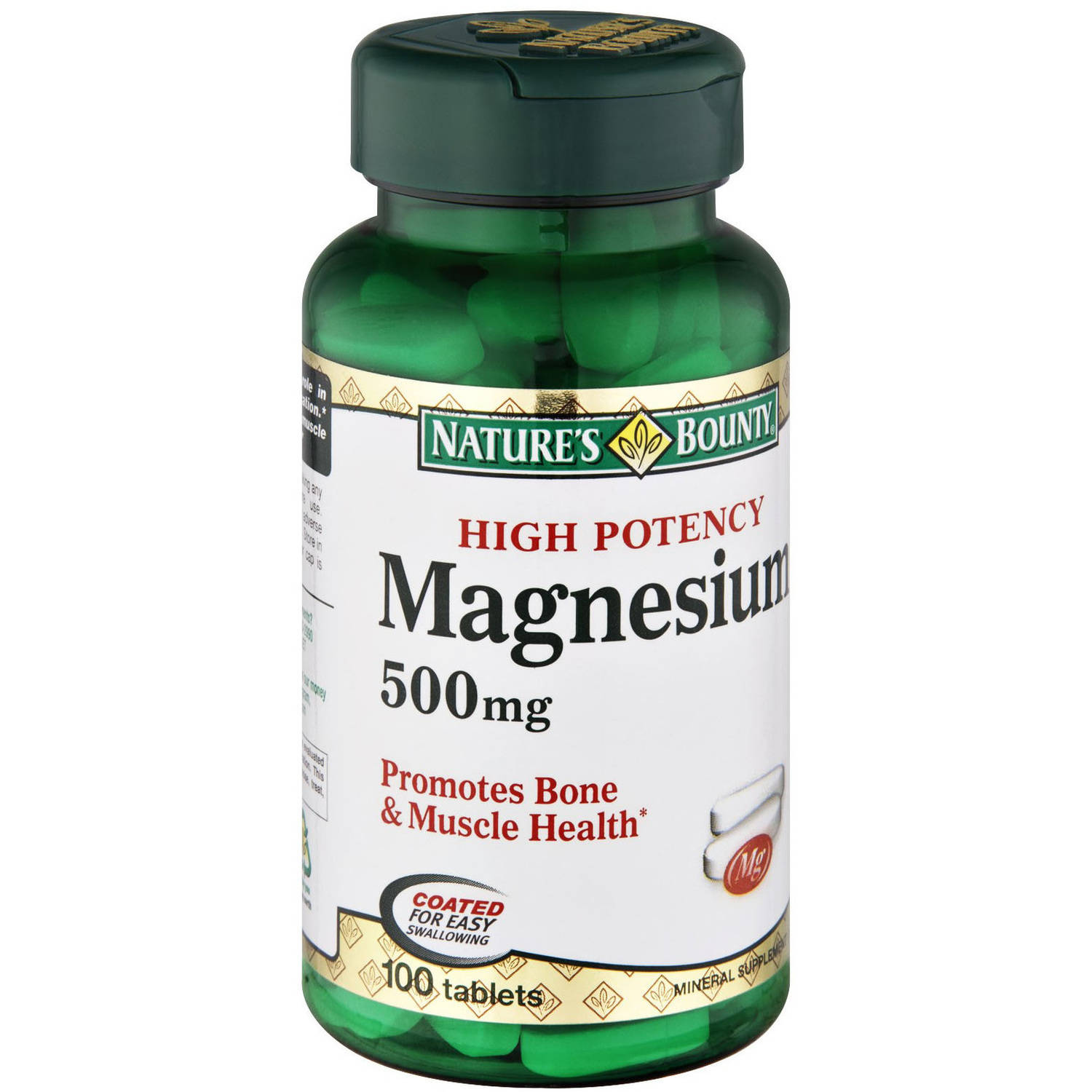 Nature's Bounty High Potency Magnesium 500 mg, 100 CT (Pack of 3)