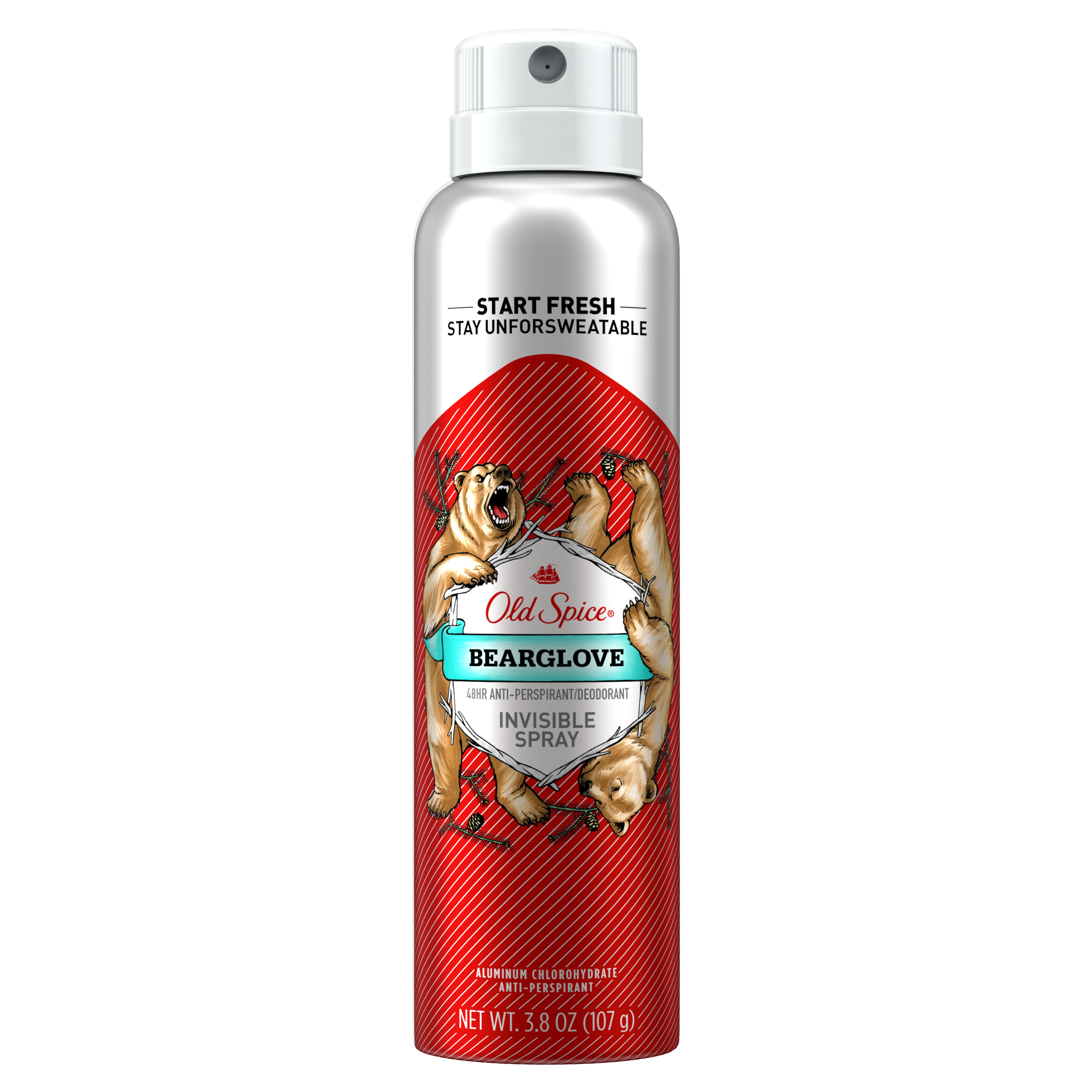 Old Spice Invisible Spray Antiperspirant and Deodorant for men, Bearglove, 3.8 oz