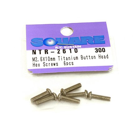 6sq Square - Integy RC Toy Model Hop-ups SQ-NTR-2610 Square R/C M2.6 x 10mm Titanium Button Head Hex Screws (6 pcs.)