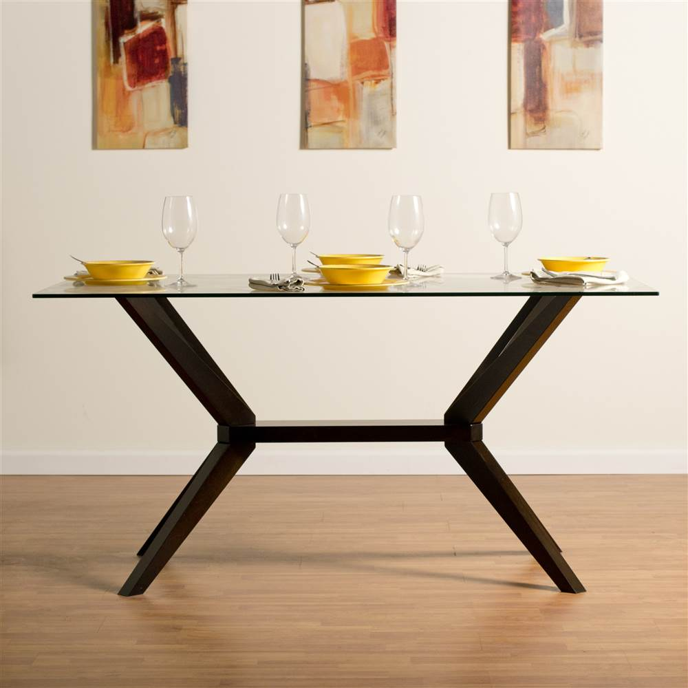 Greenwich Glass Top Dining Table in Rich Coffee