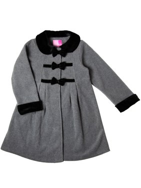 Good Lad Toddler Thru 4/6X Gilrs Dressy fleece Coat with Velvet Trim and Bows
