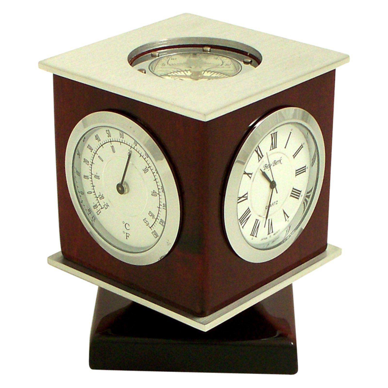 Bey-Berk International Revolving Cube Weather Station & Compass Desktop Clock