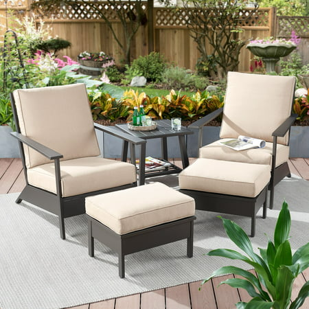 Better Homes & Gardens Emeryville 5-Piece Chat Set with Beige Cushions ()