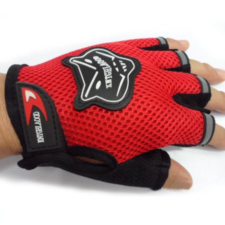 - Non-slip Silicone Bike Bicycle Half Finger Gloves, Breathable Attractive, for Outdoor, Cycling, Riding (Red, Large)