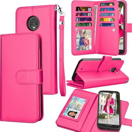 best service f4722 00adc Moto G6 Case, Motorola Moto G6 Wallet Case, 2018 Moto G6 PU Leather Case,  Tekcoo Luxury ID Cash Credit Card Slots Holder [Rose] Carrying Folio Flip  ...