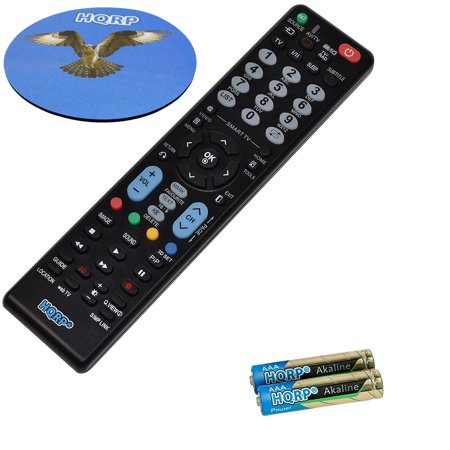 HQRP Remote Control for LG AKB73756567 42; 47; 50; 55; LCD LED HD TV Smart 1080p Ultra 4K + Coaster
