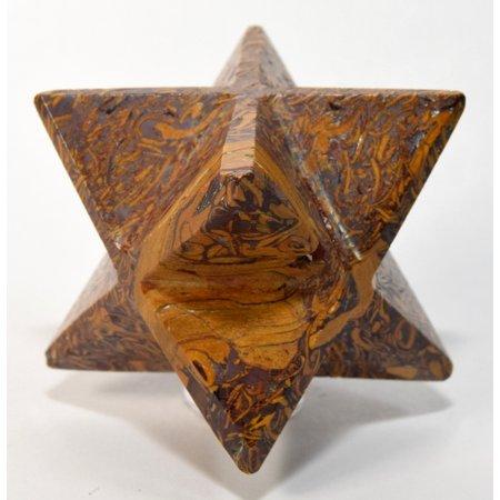 "2.4"" 90g 8 Point Mariyam Holly Stone Merkaba Star Elephant Skin / Coquina Jasper Crystal Natural Fossil Mineral Arabic Calligraphy Scriptstone - India"
