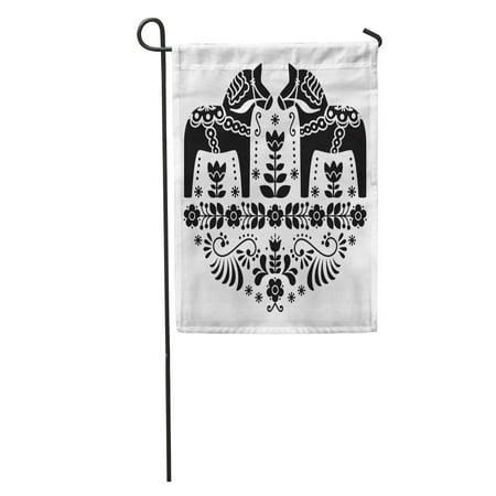 LADDKE Nordic Swedish Dala Daleclarian Horse Floral Folk Pattern in Black and White Scandinavian Garden Flag Decorative Flag House Banner 28x40 inch