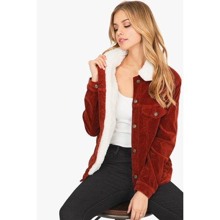 - Sneak Peek Women's Sherpa Lined Trucker Style Corduroy Jacket (L, Rust)