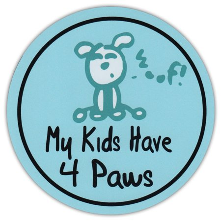 Round Dog Lover Car Magnet - My Kids Have Four Paws - Life Is Good - Magnetic Bumper Sticker