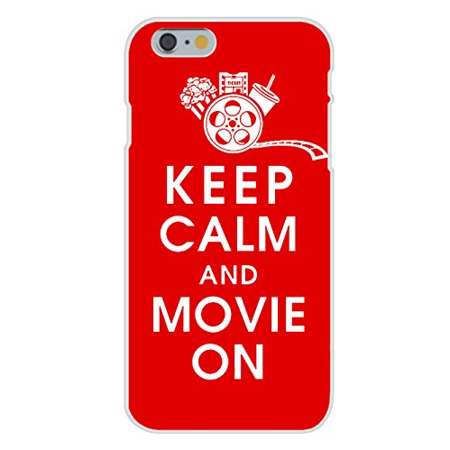 Apple iPhone 6 Custom Case White Plastic Snap On - Keep Calm and Movie On w/ Movie Reel, Popcorn, Ticket, & Beverage on Red