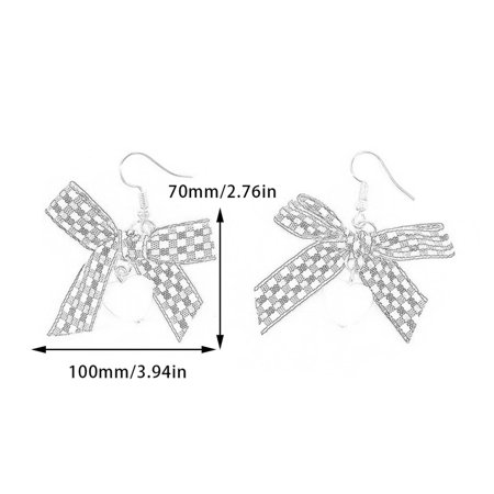 Korean Version Of The Simple Bow Cold Style Earrings Ladies Creative Personality Wild Plaid Hong Kong Style Net Red Earrings - image 5 of 7