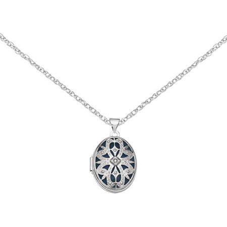 14kt White Gold 21mm Oval with Diamond Vintage -