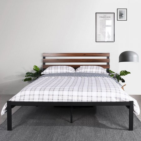 HOMY CASA Bed Frame Full Size with Wood Slats Metal Platform Bed Base with Wood Headboard No Need Box Spring Mattress Foundation, Black ()