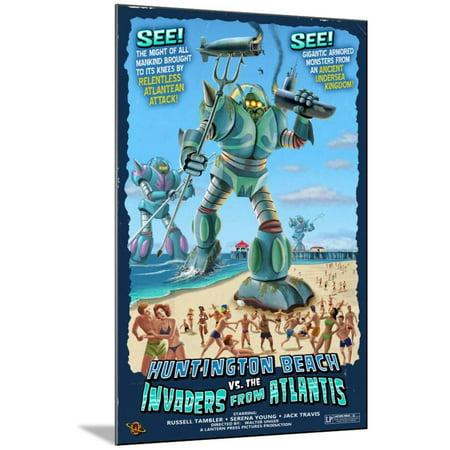 Huntington Beach, California vs. The Atlantean Invaders Wood Mounted Print Wall Art By Lantern Press