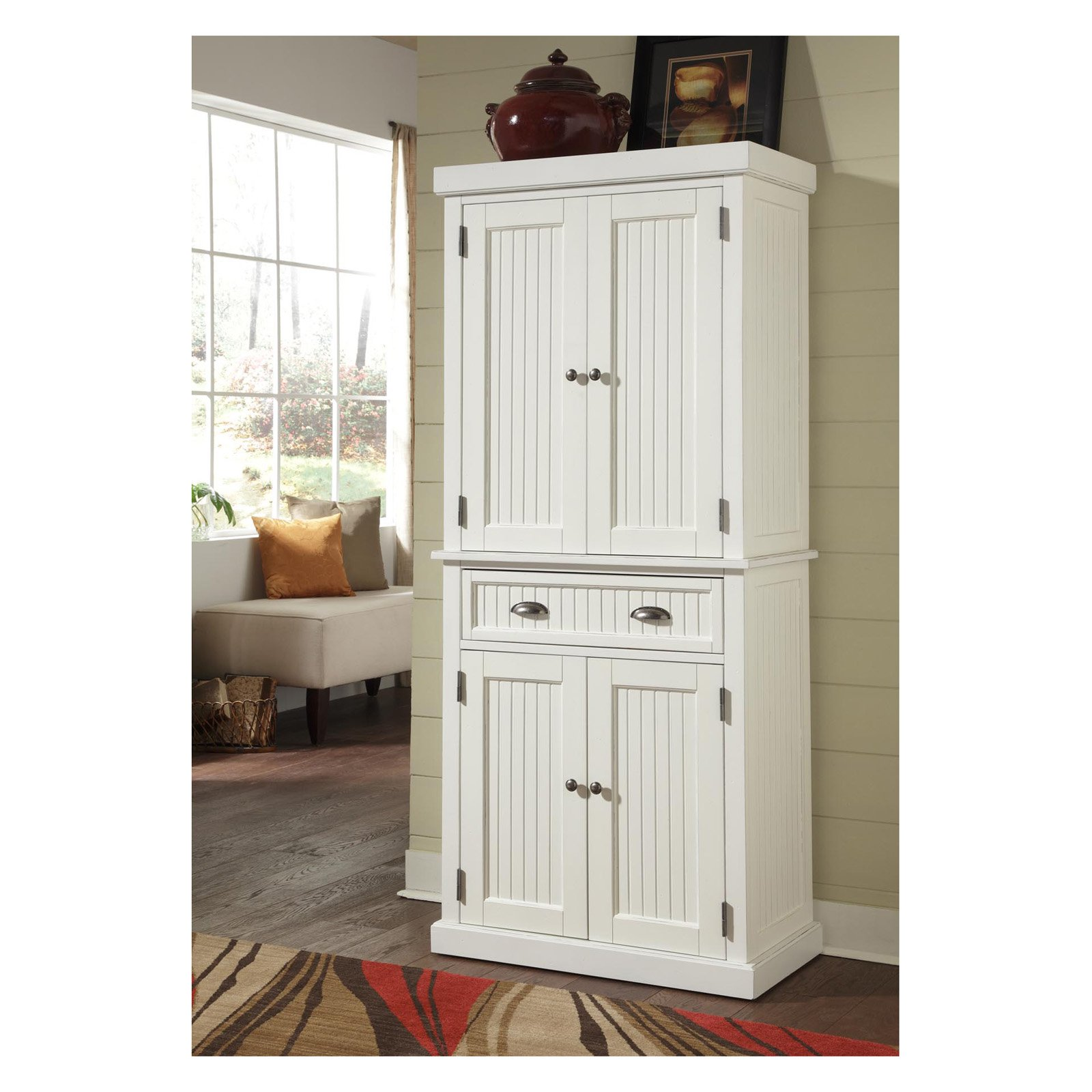 Home Styles Nantucket Pantry White, Distressed