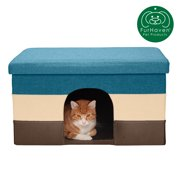 FurHaven Pet House | Pet House Ottoman for Dogs & Cats, Beach House Stripe (Browns & Blue), Large